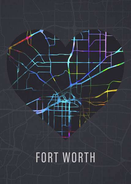 Wall Art - Mixed Media - Fort Worth Texas City Heart Street Map Love Dark Mode by Design Turnpike