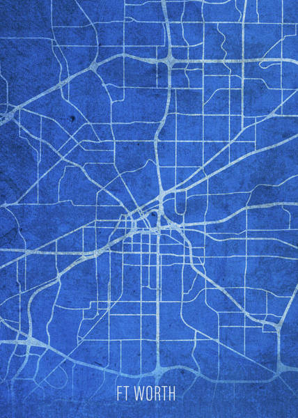 Wall Art - Mixed Media - Fort Worth Texas City Street Map Blueprints by Design Turnpike