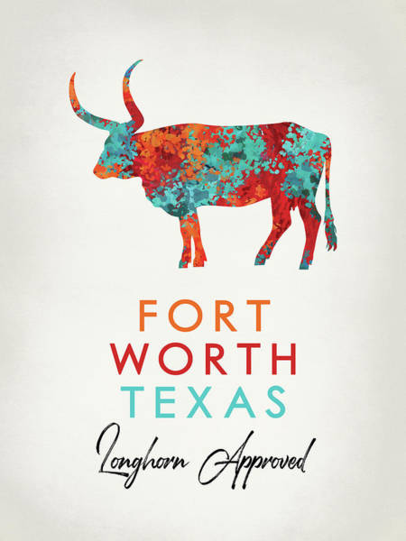 Fort Worth Digital Art - Fort Worth Texas Colorful Longhorn by Flo Karp