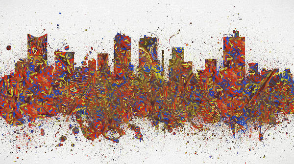 Wall Art - Painting - Fort Worth Texas Colorful Skyline by Dan Sproul