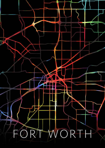 Wall Art - Mixed Media - Fort Worth Texas Watercolor City Street Map Dark Mode by Design Turnpike