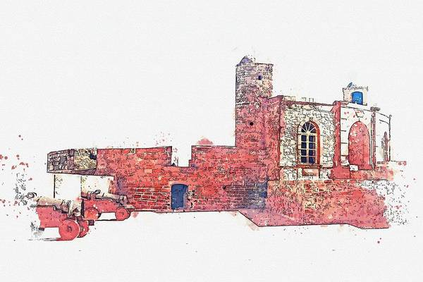Painting - Fortress, Essaouira, Morocco -  Watercolor By Adam Asar by Adam Asar