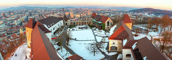 Ljubljana Digital Art - Fortress Ljubljana Grad And The City Panorama From The Castle by Tanel Murd