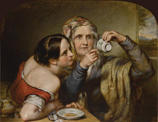 Wall Art - Painting - Fortune Telling By Cup Tossing by Nicholas Joseph Crowley