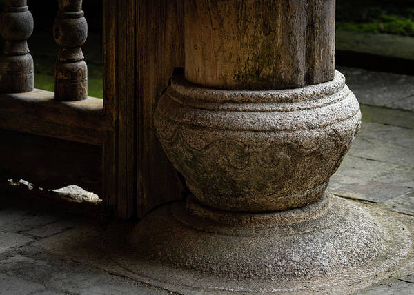 Photograph - Foundation Stone Under Wooden Pole Used In Chinese Architecture by William Dickman