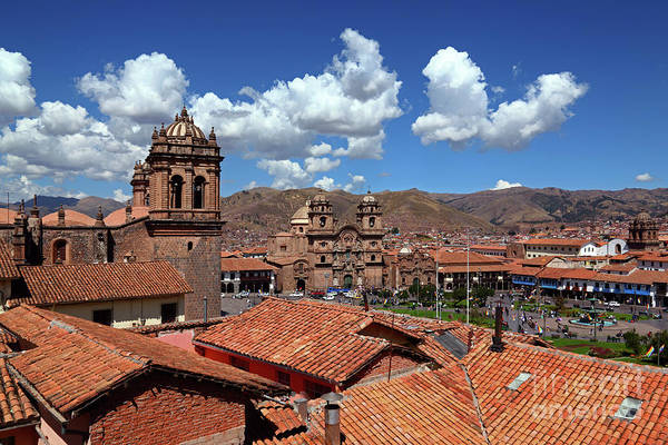 Photograph - Cathedral Tower And Tiled Roofs Cusco Peru by James Brunker