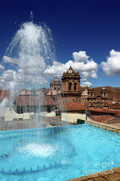 Photograph - Fountain And Cathedral Tower Cusco Peru by James Brunker