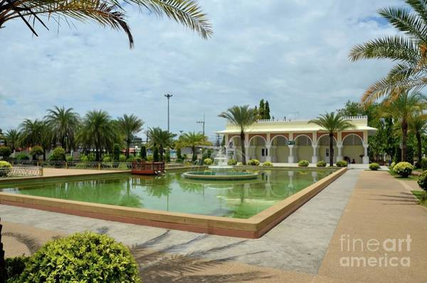 Photograph - Fountain Beside Pattani Central Mosque And Building With Arches Thailand by Imran Ahmed
