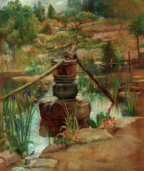 Wall Art - Painting - Fountain In Our Garden At Nikko, 1886 by John La Farge