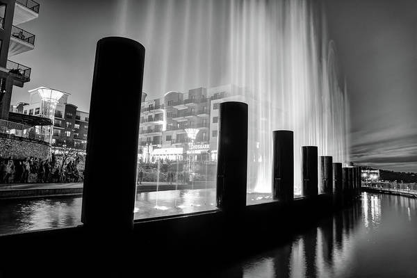 Photograph - Fountain Show At Branson Landing - Lake Taneycomo Waterfront - Monochrome by Gregory Ballos