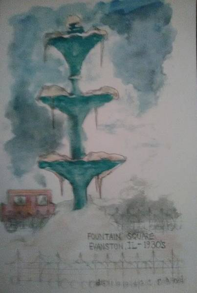 David Floodstrand Wall Art - Painting - Fountain Square 1930s by David Floodstrand
