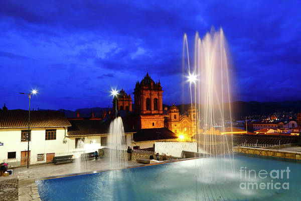 Photograph - Fountains And Church Towers At Twilight Cusco Peru by James Brunker