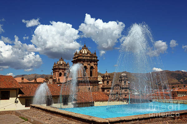 Photograph - Fountains And Church Towers Cusco Peru by James Brunker