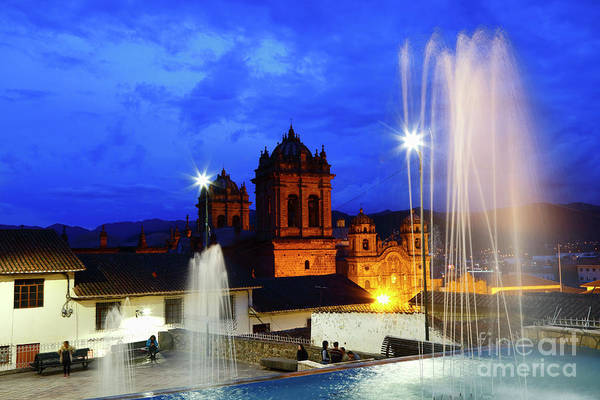 Photograph - Fountains And Towers At Twilight Cusco Peru by James Brunker