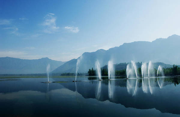 Dal Lake Photograph - Fountains In A Garden, Nishat Garden by Exotica.im