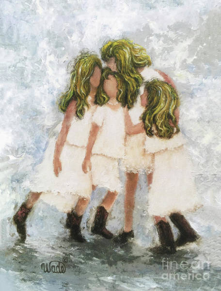 Wall Art - Painting - Four Blonde Sisters Hugging by Vickie Wade