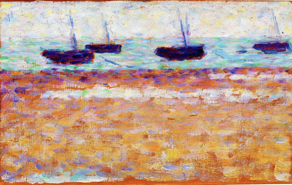 Wall Art - Painting - Four Boats At Grandcamp - Digital Remastered Edition by Georges Seurat