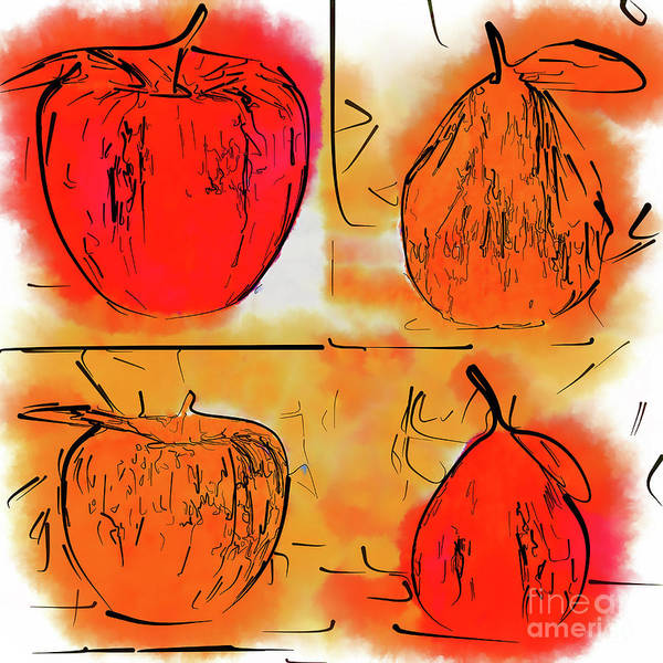 Digital Art - Four Corners Of Apples And Pears by Kirt Tisdale