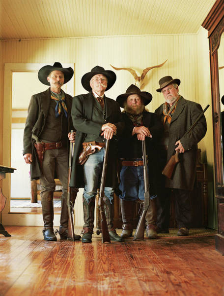 Rifle Photograph - Four Cowboys With Rifles And Revolvers by David Sacks
