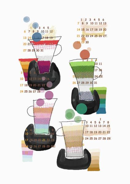 Pencil Drawing Digital Art - Four Cups by Daj