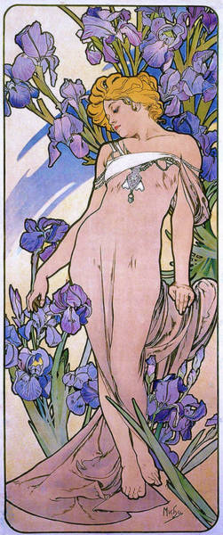 Mucha Painting - Four Flowers, Iris - Digital Remastered Edition by Alfons Maria Mucha