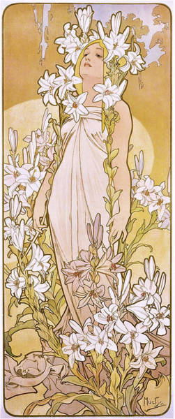 Wall Art - Painting - Four Flowers, Lily - Digital Remastered Edition by Alfons Maria Mucha