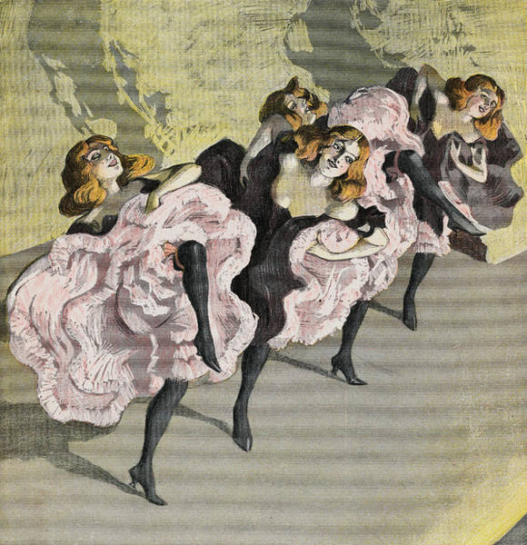 Four Girls Dancing Cancan Art Print by Bettmann