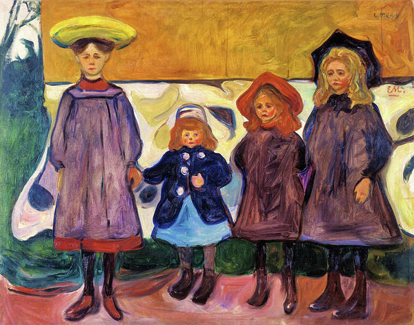 Wall Art - Painting - Four Girls In Asgardstrand - Digital Remastered Edition by Edvard Munch