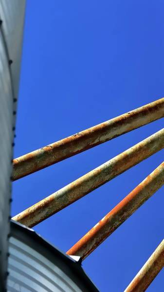 Photograph - Four Grain Pipes Two Bins by Jerry Sodorff