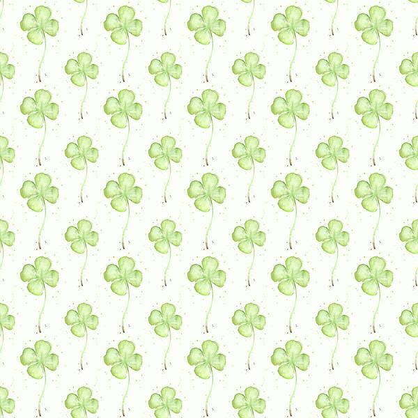 Lucky Clover Painting - Four Leaf Clover Lucky Charm Pattern by Olga Shvartsur
