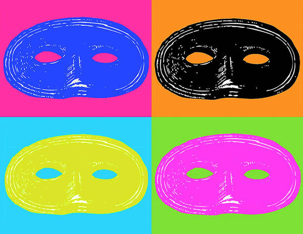 Wall Art - Digital Art - Four Mardi Grashalloween Mask by Ej Carr