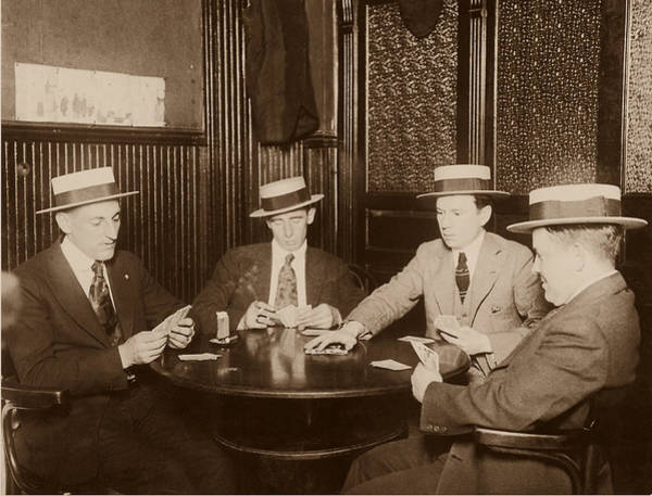 Panama Photograph - Four Men Playing Cards B&w Sepia Tone by Fpg