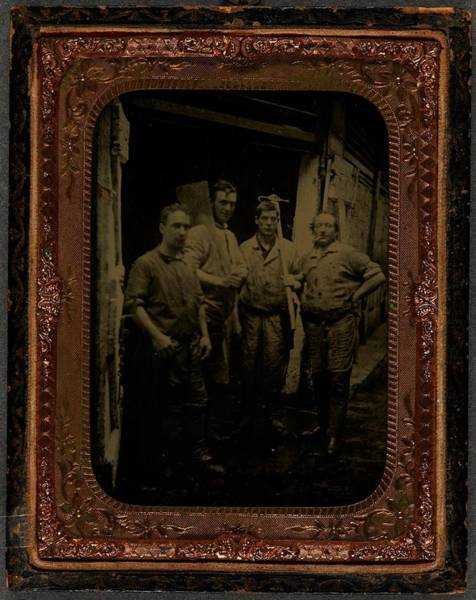 0 Painting -  Four Men With Tools  Ca  1860 Ambrotype by Celestial Images