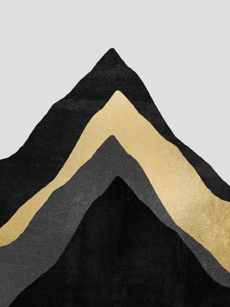Golden Digital Art - Four Mountains by Elisabeth Fredriksson