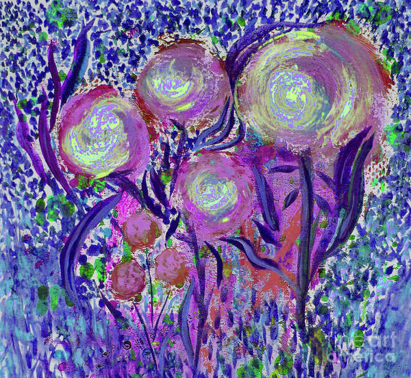 Four Pink Flowers In Blue Art Print