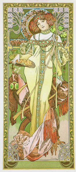 Alfons Mucha Painting - Four Seasons, Autumn - Digital Remastered Edition by Alfons Maria Mucha