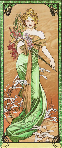 Alfons Mucha Painting - Four Seasons, Spring - Digital Remastered Edition by Alfons Maria Mucha