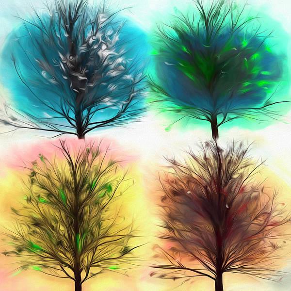 Flowering Trees Digital Art - Four Seasons Square Abstract Art by Debra and Dave Vanderlaan