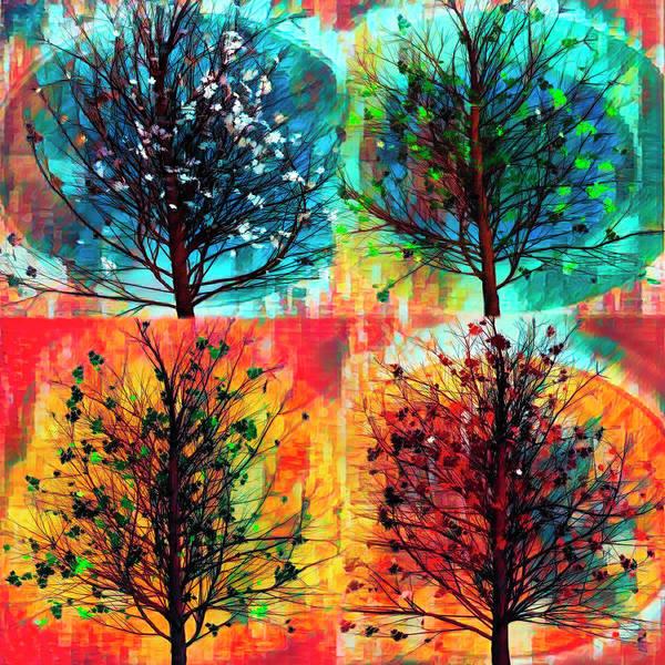 Flowering Trees Digital Art - Four Seasons Square Art by Debra and Dave Vanderlaan