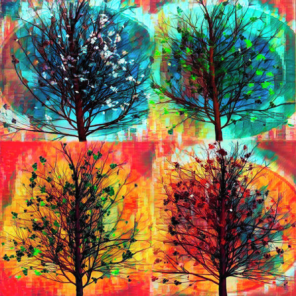 Digital Art - Four Seasons Square Art by Debra and Dave Vanderlaan
