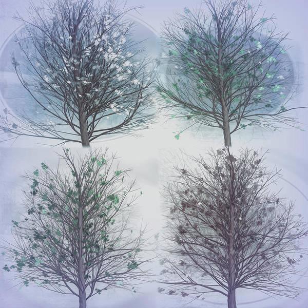 Flowering Trees Digital Art - Four Seasons Square Cool Gray Tones by Debra and Dave Vanderlaan