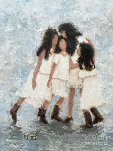 Wall Art - Painting - Four Sisters Hugging Brunettes by Vickie Wade