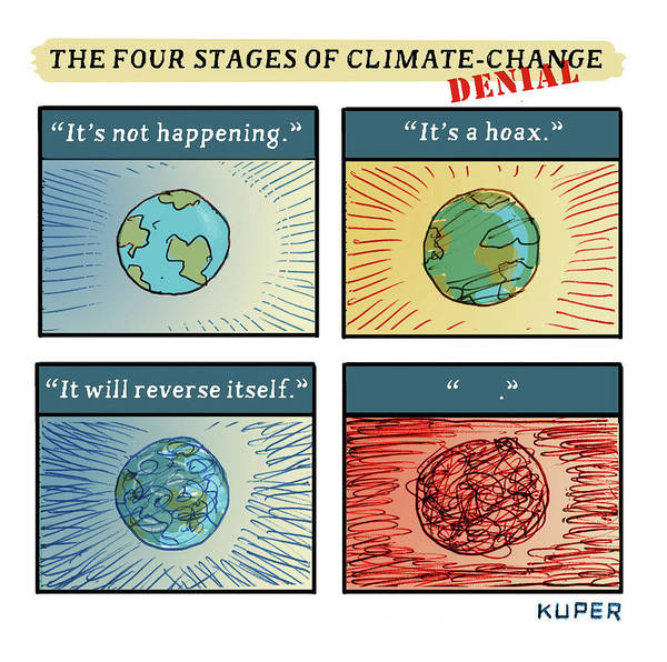 Ignore Drawing - Four Stages Of Climate Change by Peter Kuper