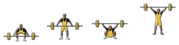 Four Stages Of Weightlifter Lifting Art Print