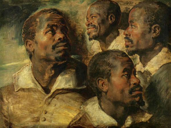 Wall Art - Painting - Four Studies Of A Head Of A Moor, 1614-1616 by Peter Paul Rubens