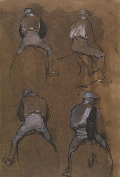 Wall Art - Drawing - Four Studies Of A Jockey by Edgar Degas