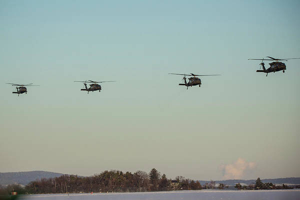 Wall Art - Photograph - Four Uh-60m Black Hawk Helicopters by Timm Ziegenthaler