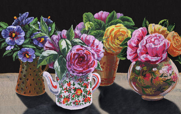 Wall Art - Painting - Four Vases With Garden Flowers Impressionism  by Irina Sztukowski