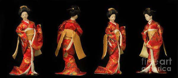 Hairdo Digital Art - Four Views Of A Traditional Japanese Geisha Doll In Red Kimono I by Amy Cicconi
