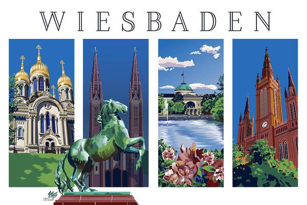 Four Views Of Wiesbaden Art Print